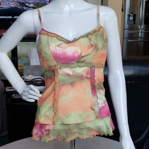 Pink & orange watercolor tank top size small